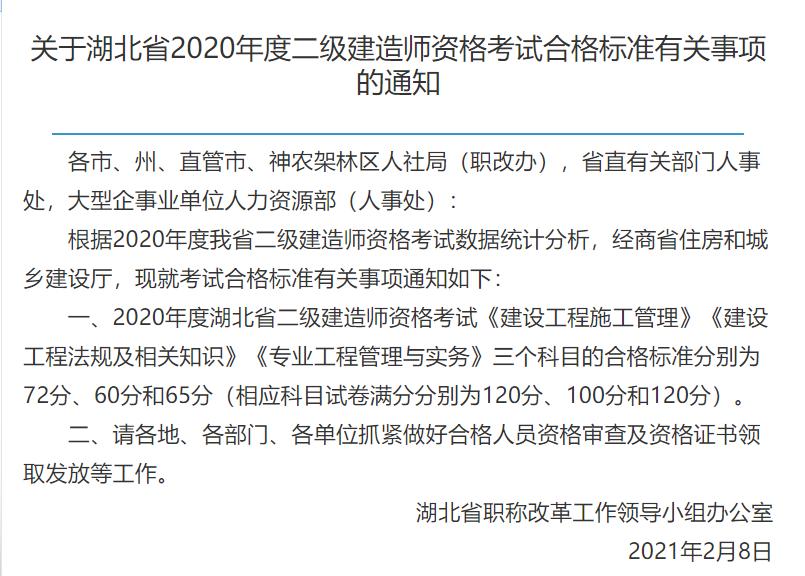 2020年湖北省二级建造师考试成绩合格标准已出,分数线每年都在上涨趋势