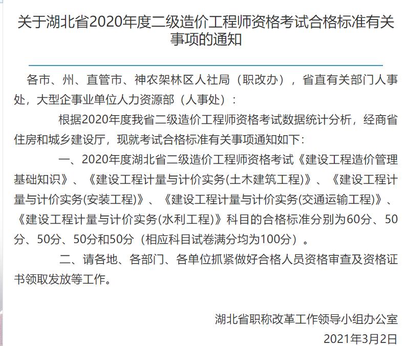2020年度湖北省二级造价师合格分数线出来了吗?
